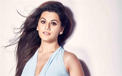 Taapsee Pannu, 4k, Bollywood, Indian actress, portrait, brunette, blue dress, beautiful indian woman