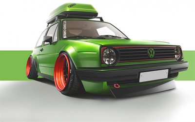 Volkswagen Golf, mk2, tuning, stance, green Golf, VW, Volkswagen