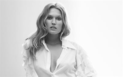 Toni Garrn, German top model, portrait, monochrome, beautiful woman, white shirt, harpers bazaar