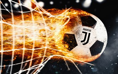 Juventus, 4k, fire, new logo, flame, Juve, Serie A, art, new Juventus logo, ball, juve, soccer, Juve logo