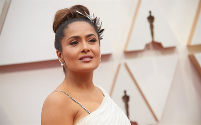 Salma Hayek, american actress, portrait, photoshoot, white dress, popular actresses