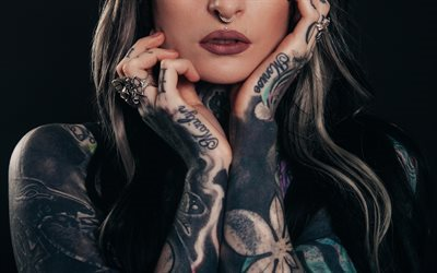 Girl with tattoos, arm tattoos, makeup, tattoo