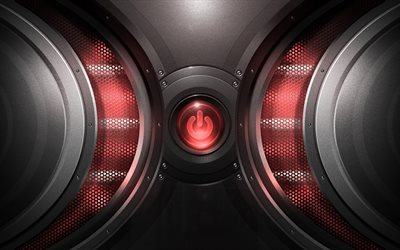 power button, red button, metallic texture, neon