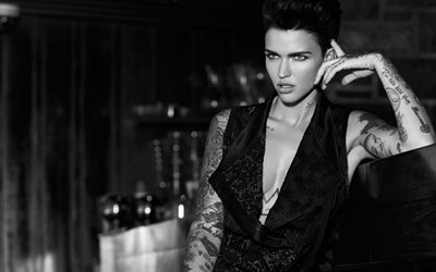 Ruby Rose, Australian actress, fashion model, black dress, portrait, tattoo on hands