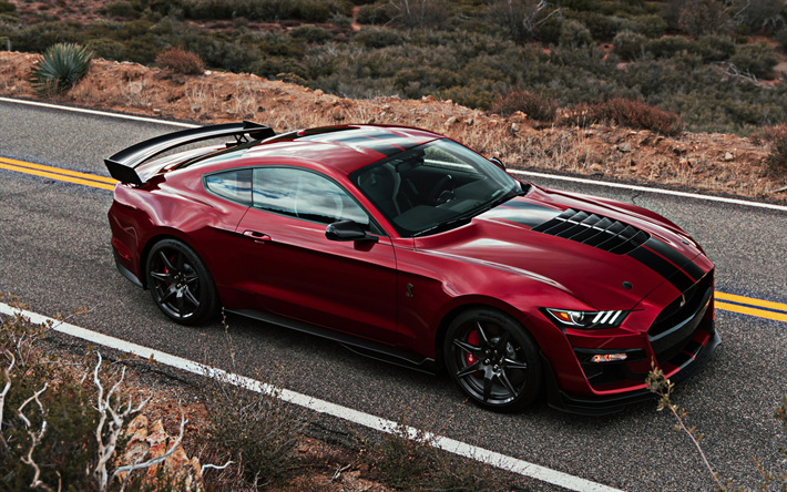 Download wallpapers Ford Mustang Shelby GT500, 2019, red ...