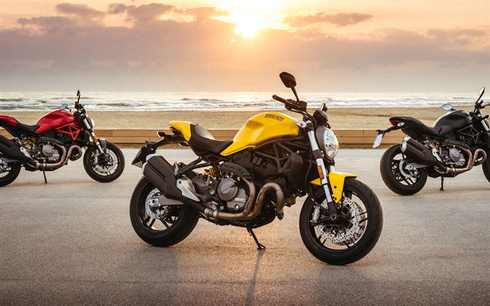 t l charger fonds d 39 cran ducati monster 821 2018 4k nouvelles motos rouge jaune noir. Black Bedroom Furniture Sets. Home Design Ideas