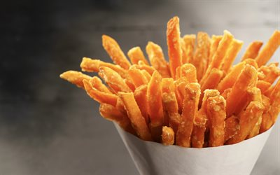 french fries, fastfood, potato, close-up