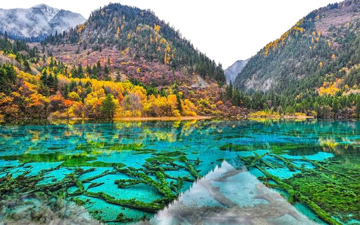Scarica sfondi 4k parco nazionale di jiuzhaigou autunno for Paesaggi naturali hd