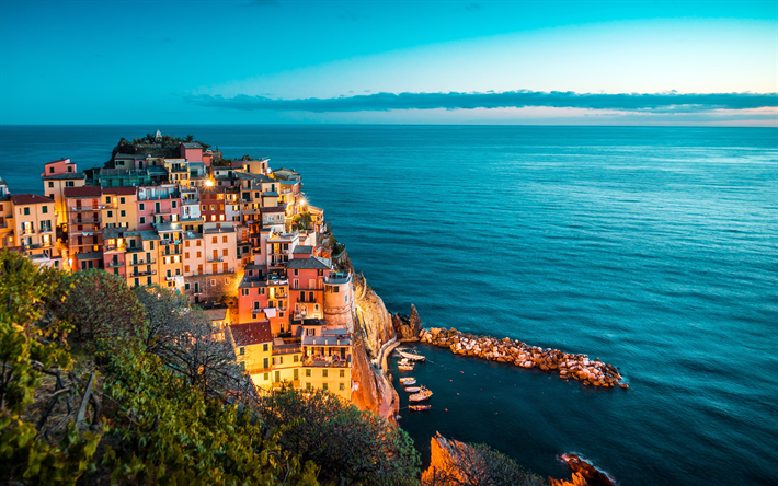 Download Wallpapers Positano Evening Cliffs Coast