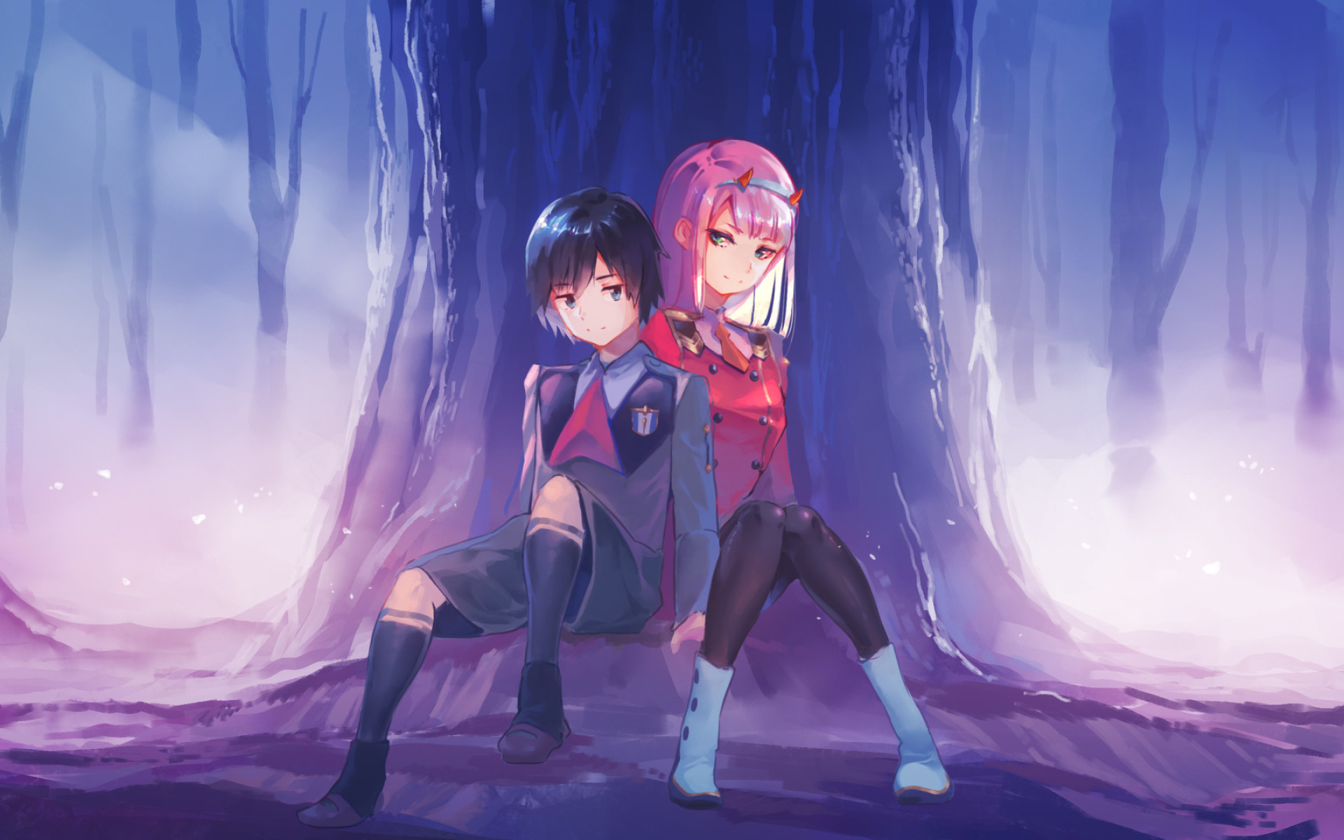 Download Wallpapers Hiro Zero Two Forest Manga Protagonists