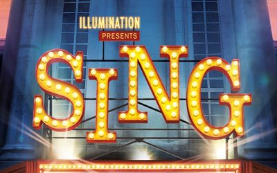 Sing, 2016, promo, shield with bulbs