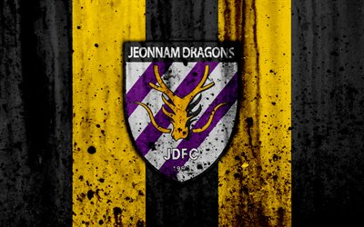 4k, FC Jeonnam Dragons, grunge, K-League Classic, soccer, football club, South Korea, Jeonnam Dragons, art, stone texture, Jeonnam Dragons FC