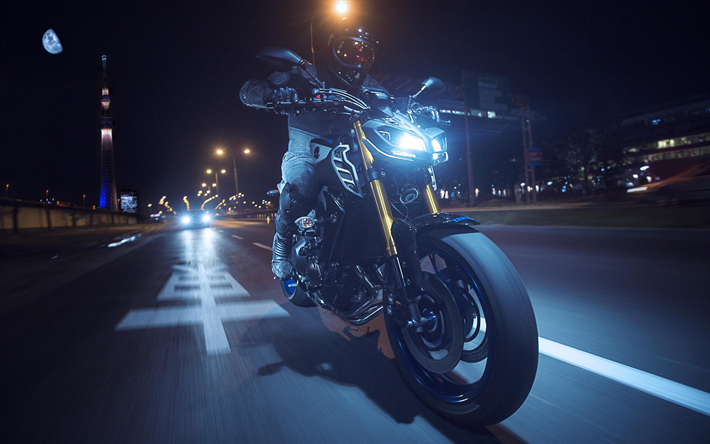 Download Wallpapers Yamaha Mt 09 Sp Night 2018 Bikes Rider New Mt 09 Yamaha For Desktop Free Pictures For Desktop Free