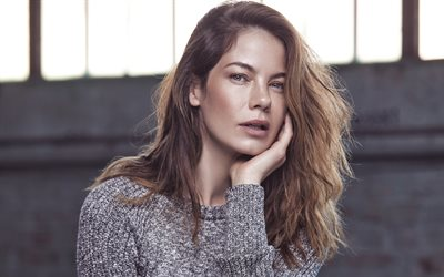 Michelle Monaghan, 4K, American actress, portrait, photo shoot, gray sweater, fashion model, American celebrities