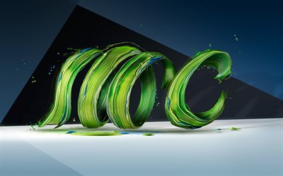 green waves, 3d art, abstract waves, curves, creative