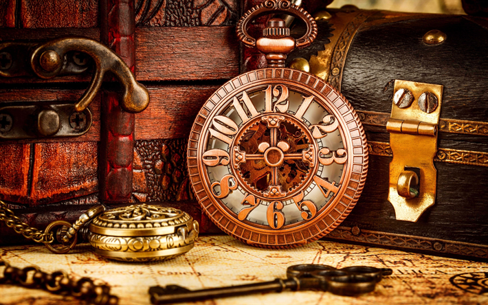 Download wallpapers old pocket watches, time concepts ...