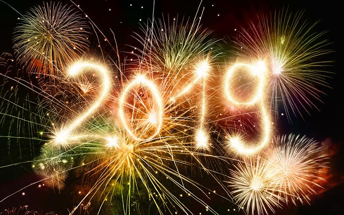 Descargar Fondos De Pantalla 2019 Ano Fuegos Artificiales
