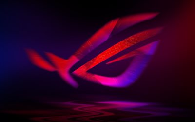 4k, Republic of Gamers, abstract logo, creative, purple background, ASUS, cityscape, RoG