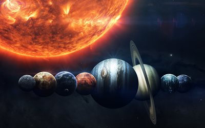 Planets of the solar system, art, Sun, space, all planets, stars, planetary row, solar system