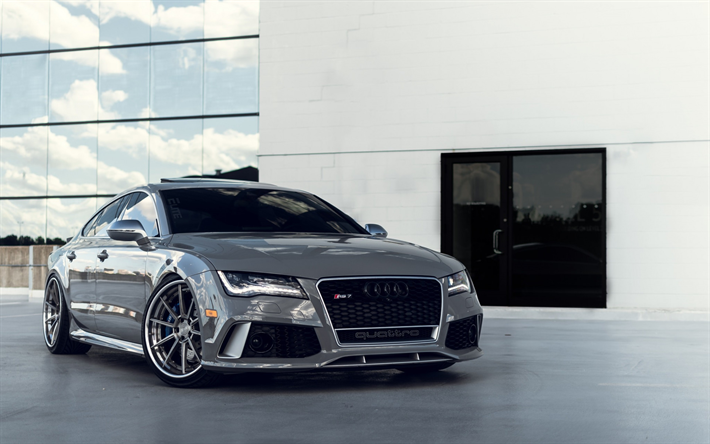 Download Wallpapers Audi Rs7 Quattro 2018 Silver Rs7 Sports