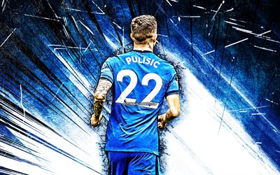 4k, Christian Pulisic, grunge art, back view, Chelsea FC, american footballers, blue abstract rays, soccer, Christian Mate Pulisic, Premier League, Christian Pulisic 4K, Christian Pulisic Chelsea