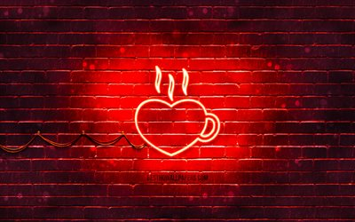 Heart Cup neon icon, 4k, red background, neon symbols, Heart Cup, neon icons, Heart Cup sign, food signs, Heart Cup icon, food icons