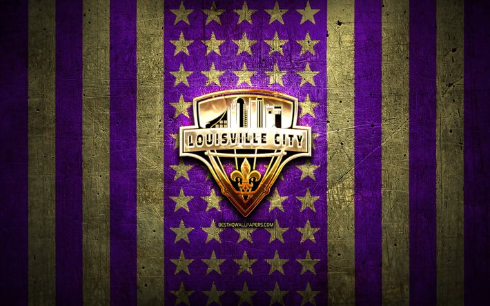 Louisville City FC flag, USL, violet brown metal background, american soccer club, Louisville City FC logo, USA, soccer, Louisville City FC, golden logo