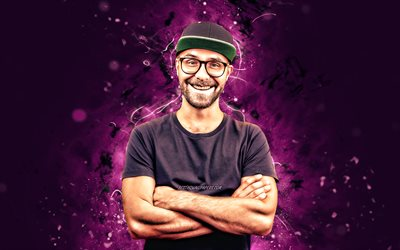 Mark Forster, 4k, violet neon lights, german singer, music stars, Mark Cwiertnia, german celebrity, Mark Forster 4K