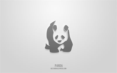 Panda 3d icon, green background, 3d symbols, Panda, Animals icons, 3d icons, Panda sign, Animals 3d icons