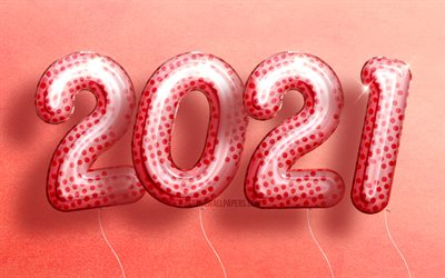 4k, Happy New Year 2021, pink realistic balloons, 3D art, 2021 pink digits, 2021 concepts, 2021 new year, 2021 on pink background, 2021 year digits, 2021 New Year