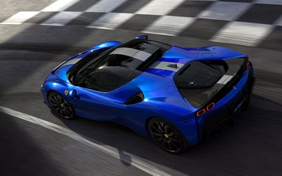 2021, Ferrari SF90 Spider, 4k, top view, exterior, blue convertible, new blue SF90 Spider, supercar, italian sports cars, Ferrari