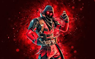 Ravenpool, 4k, red neon lights, 2020 games, Fortnite Battle Royale, Fortnite characters, Ravenpool Skin, Fortnite, Ravenpool Fortnite