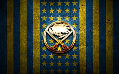 Buffalo Sabres flag, NHL, blue yellow metal background, american hockey team, Buffalo Sabres logo, USA, hockey, golden logo, Buffalo Sabres