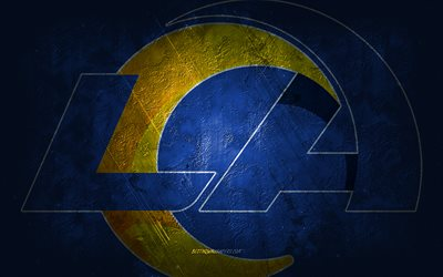 Los Angeles Rams, American football team, blue stone background, Los Angeles Rams logo, grunge art, NFL, Los Angeles Rams new logo, American football, USA, Los Angeles Rams emblem
