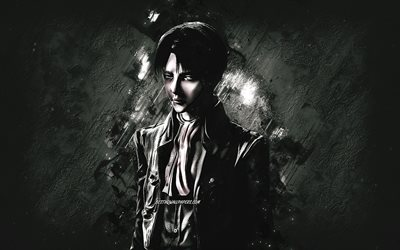Levi Ackerman, Attack on Titan, portrait, anime characters, black stone background, Japanese manga, Attack on Titan characters