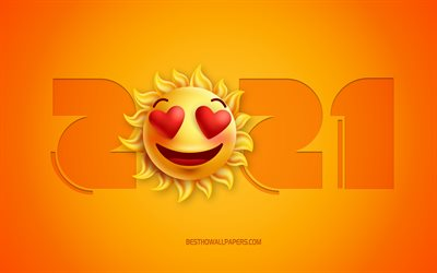2021 New Year, 4k, 3d love emotion icon, Yellow 2021 background, 2021 3d background, 2021 concepts, Happy New Year 2021, 2021 Love background