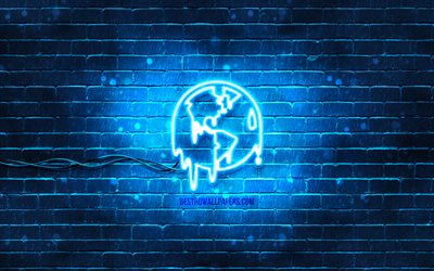 Global warming neon icon, 4k, blue background, neon symbols, Global warming, neon icons, Global warming sign, ecology signs, Global warming icon, ecology icons