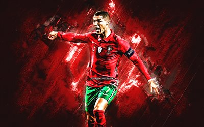 Cristiano Ronaldo, CR7, portuguese footballer, portrait, Portugal national football team, red stone background, soccer