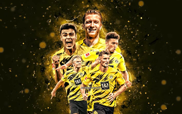Erling Braut Haland, Thomas Meunier, Marco Reus, Jadon Sancho, Giovanni Reyna, 4k, Borussia Dortmund team, BVB, German football club, Germany, Bundesliga, football, Borussia Dortmund