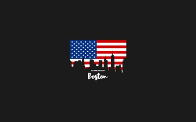 Boston, American cities, Boston silhouette skyline, USA flag, Boston cityscape, American flag, USA, Boston skyline