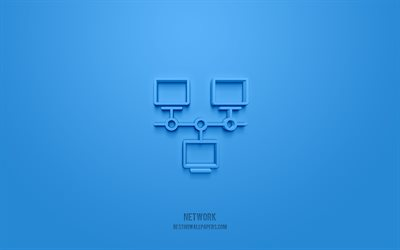 Network 3d icon, blue background, 3d symbols, Network, Technology icons, 3d icons, Network sign, Technology 3d icons
