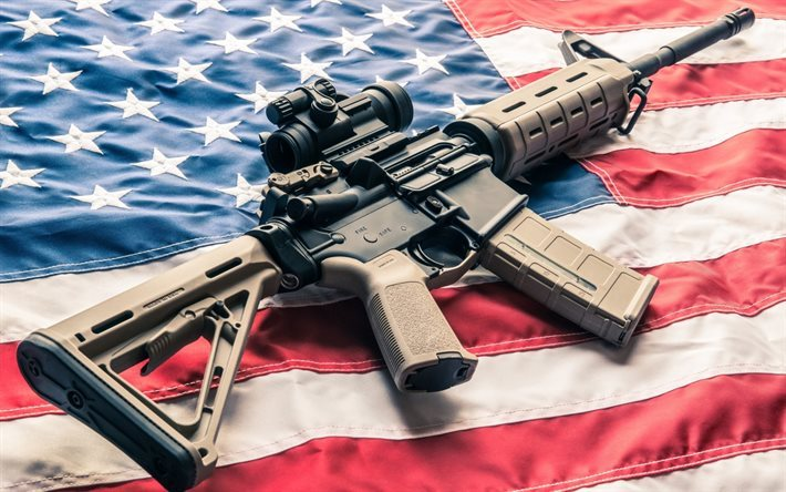 Download Wallpapers Assault Rifle AR 15 American Flag
