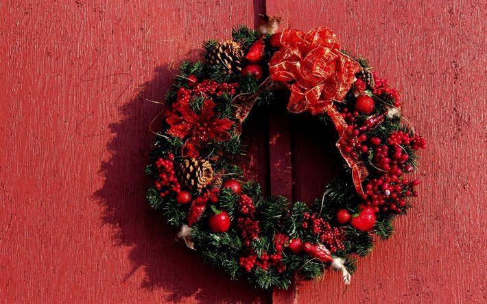 Christmas wreath, red wall, Christmas