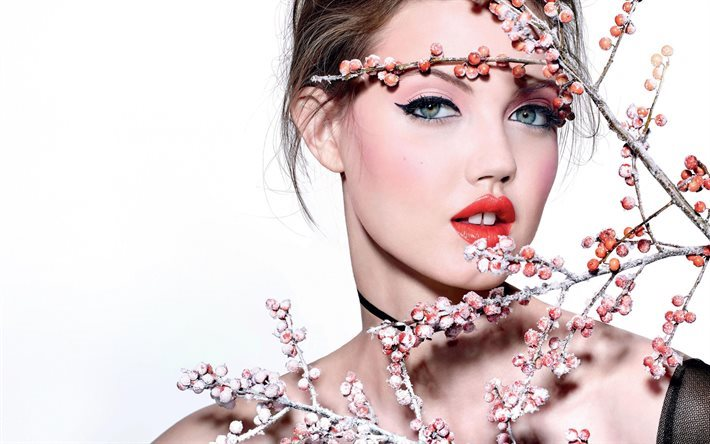 Lindsey Wixson, portrait, make-up, American fashion model