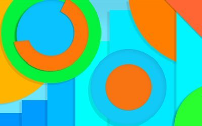 colorful abstract, 4k, multicolored circles, blue, orange, green