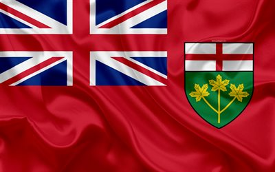 Download wallpapers flag of ontario canada 4k province ontario silk flag canadian symbols - Canada flag 3d wallpaper ...