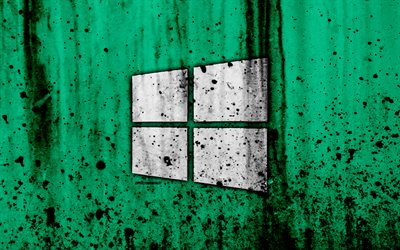 Windows 10, 4k, creativa, el grunge, el verde backgroud, logotipo, Windows 10 logotipo de Microsoft