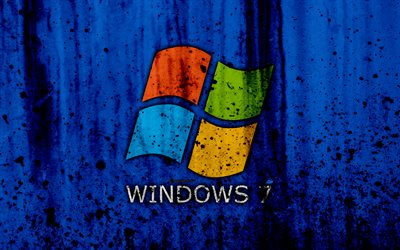 Windows 7, 4k, Se7en, azul, antecedentes, grunge, Windows Seven, Microsoft