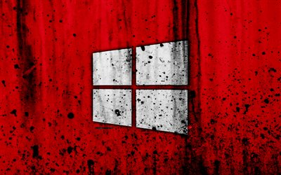 Windows 10, 4k, creativo, grunge, fondo rojo, logotipo, Windows 10 logotipo de Microsoft