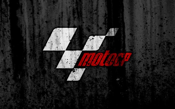 Download wallpapers MotoGP, 4k, logo, grunge, black background, MotoGP logo for desktop free ...